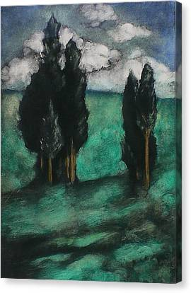 Italian Landscape Canvas Print - Stand Of Trees by Lori Dean Dyment