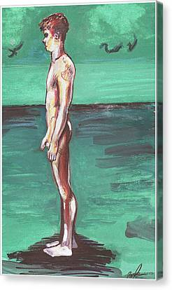 Standig On A Cold Beach With Hesitation  Canvas Print by Rene Capone