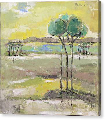Pallet Knife Canvas Print - Standing In Distance by Becky Kim