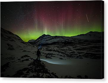 Standing In Awe Of The Auroras Canvas Print by Craig Brown