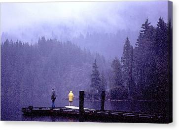 Canvas Print featuring the photograph Standing In The Mist 2 Wc by Lyle Crump