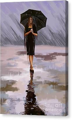 Standing-in-the-rain Canvas Print