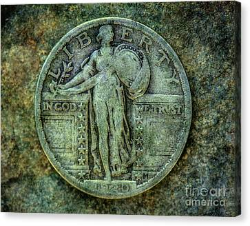 Canvas Print featuring the digital art Standing Libery Quarter Obverse by Randy Steele