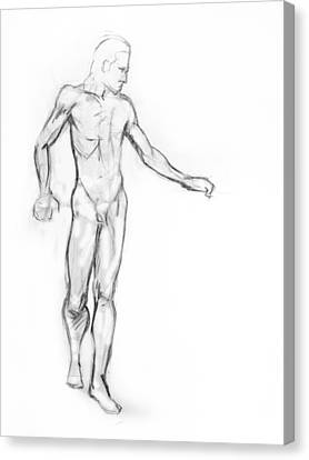 Standing Male Nude Canvas Print by Adam Long
