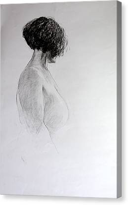 Canvas Print featuring the drawing Standing Nude by Harry Robertson