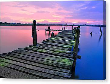 Standing On A Wooden Bridge Canvas Print