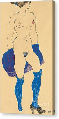 Pencil On Canvas Print - Standing Woman With Shoes And Stockings by Egon Schiele