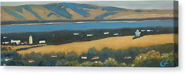 Canvas Print featuring the painting Stanford By The Bay by Gary Coleman
