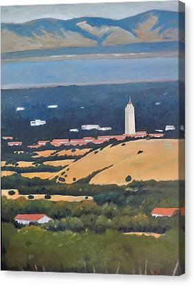Canvas Print featuring the painting Stanford From Hills by Gary Coleman