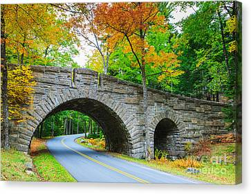 Stanley Brook Bridge In Acadia N.p Canvas Print by Henk Meijer Photography