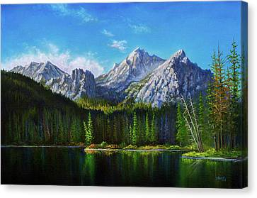 Stanley Lake Reflections Canvas Print by C Steele