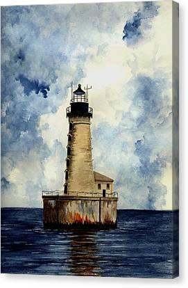 Stannard Rock Lighthouse Canvas Print by Michael Vigliotti