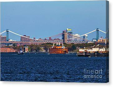 Stanton Island Ferry In Front Of The Brooklyn Bridge Canvas Print by William Rogers