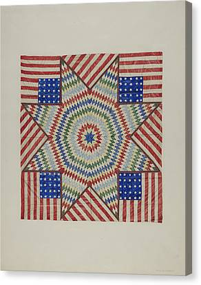 Stars And Tripes Canvas Print - Star And Flag Design Quilt by Fred Hassebrock