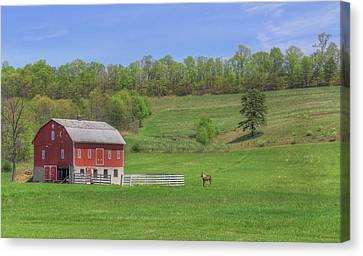 Canvas Print featuring the digital art Star And Moon Barn by Sharon Batdorf