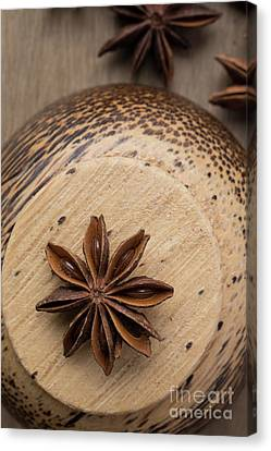 Wooden Bowls Canvas Print - Star Anise On Wooden Bowl by Edward Fielding