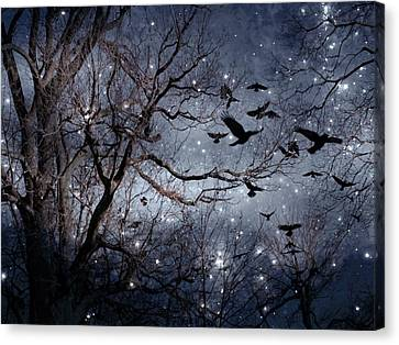 Starlit Crows In Flight Canvas Print