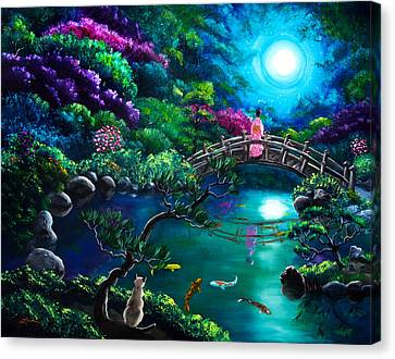 Star Gazing On Moon Bridge Canvas Print by Laura Iverson