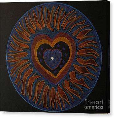 Canvas Print featuring the drawing Star In My Heart by Patricia Januszkiewicz