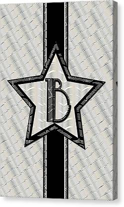 Star Of The Show Art Deco Style Letter B Canvas Print by Cecely Bloom