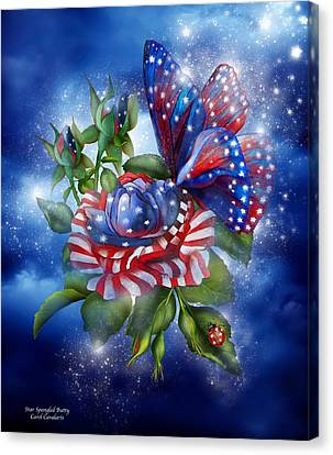 Star Spangled Butterfly Canvas Print by Carol Cavalaris