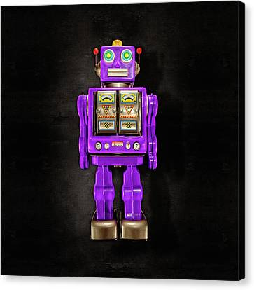 Canvas Print featuring the photograph Star Strider Robot Purple On Black by YoPedro