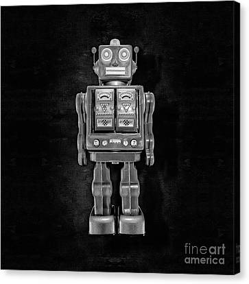 Star Strider Robot Red Bw Canvas Print by YoPedro