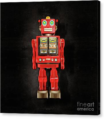 Star Strider Robot Red On Black Canvas Print by YoPedro