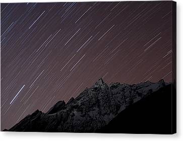Star Trails Above Himal Chuli Created Canvas Print by Alex Treadway