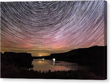 Canvas Print featuring the photograph Star Trails And Aurora At Billy Chinook by Cat Connor