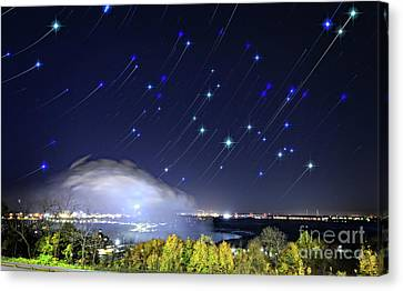 Canvas Print featuring the photograph Star Trails Over Niagara River by Charline Xia