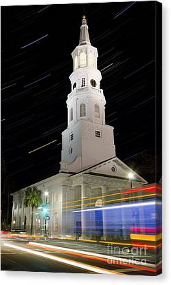 Star Trails Over St Michaels Church Charleston Sc Canvas Print by Dustin K Ryan