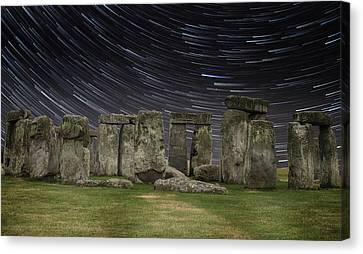 Amesbury Canvas Print - Star Trails Stonehenge by Martin Newman