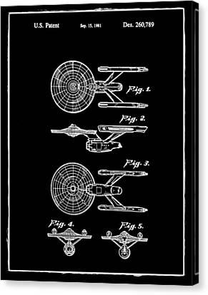 Star Trek Enterprise Patent Black Canvas Print by Bill Cannon