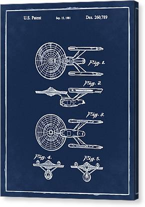Star Trek Enterprise Patent Blue Canvas Print by Bill Cannon