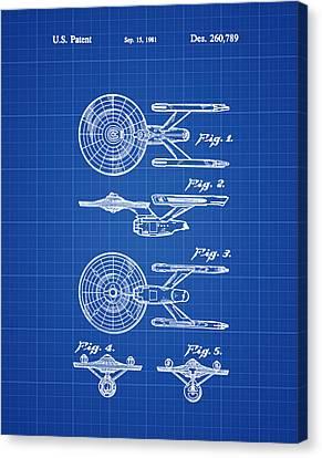 Star Trek Enterprise Patent Blue Print Canvas Print by Bill Cannon
