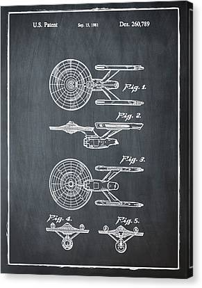 Star Trek Enterprise Patent Chalk Canvas Print by Bill Cannon