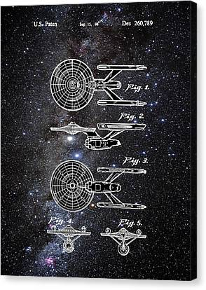 Star Trek Enterprise Patent Space Canvas Print by Bill Cannon
