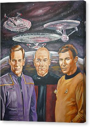 Canvas Print featuring the painting Star Trek Tribute Enterprise Captains by Bryan Bustard