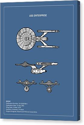 Star Trek - Uss Enterprise Patent Canvas Print by Mark Rogan