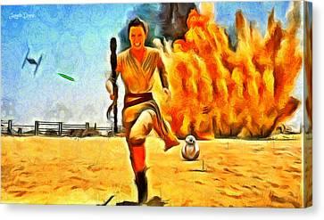 Active Canvas Print - Star Wars 7 Rushing - Da by Leonardo Digenio