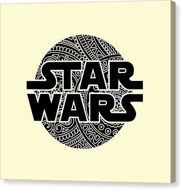 Movie Poster Canvas Print - Star Wars Art - Logo - Black by Studio Grafiikka