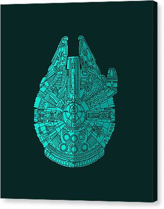 Movie Poster Canvas Print - Star Wars Art - Millennium Falcon - Blue 02 by Studio Grafiikka