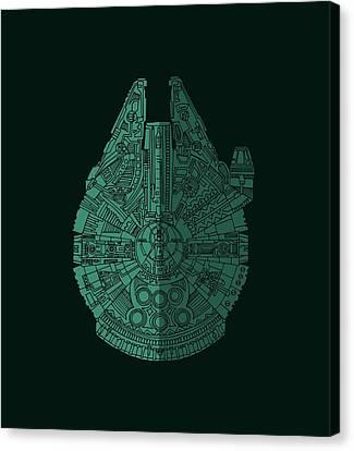 Star Wars Art - Millennium Falcon - Blue Green Canvas Print