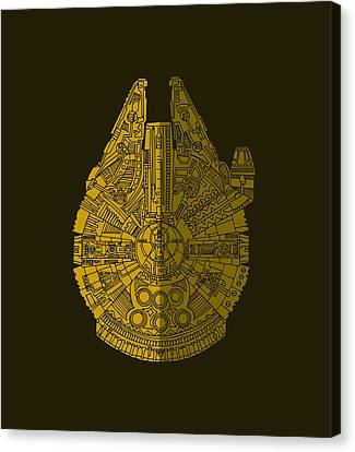 Star Wars Art - Millennium Falcon - Brown Canvas Print
