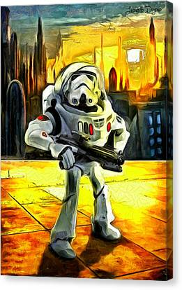 Star Wars Astronaut-trooper Canvas Print by Leonardo Digenio
