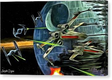 X-wing Canvas Print - Star Wars Battle by Leonardo Digenio