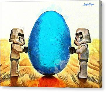 Lego Canvas Print - Star Wars Blue Egg - Da by Leonardo Digenio