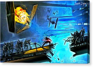 Destruction Canvas Print - Star Wars Encurralado - Da by Leonardo Digenio