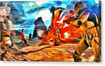 Star Wars Fighters At Battlefield - Da Canvas Print